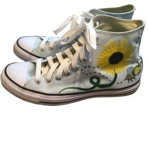 Converse Hi Top Custom Sunflower Painted Sneakers